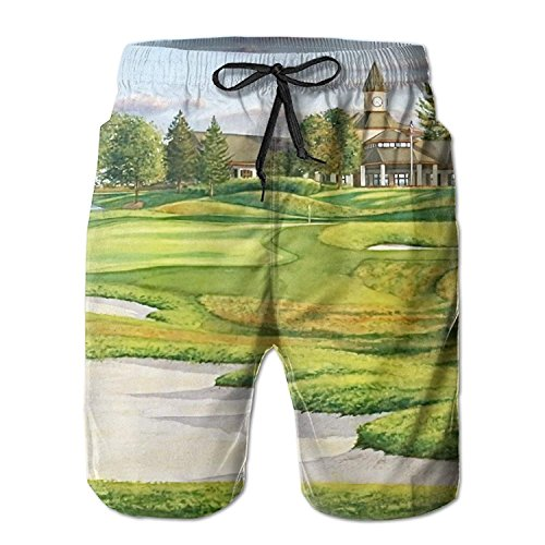 MSGDF Great Golf Course with Building Summer Mens Quick-Drying Swim Trunks Beach Shorts - Pebble Beach Golf Course