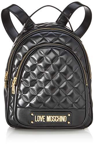Love moschino borsa quilted nappa pu, zainetto donna, nero (nero), 29x30x12 cm (w x h x l)