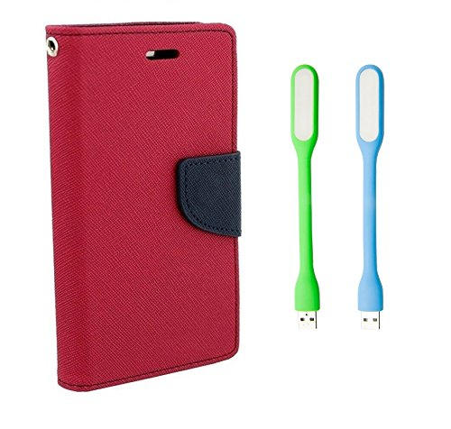 HTC Desire 616 (Dual SIM) Mercury Flip Wallet Diary Card Case Cover (Pink+LED LIGHT) By Mobile Life  available at amazon for Rs.199