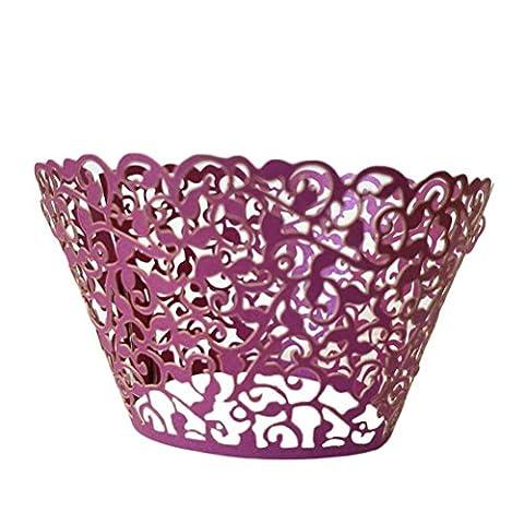 PIXNOR 50pcs vigne filigrane dentelle Cupcake Wrapper (violet foncé)