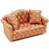 Unbekannt Miniatur Sofa / Couch mit 2 Kissen - für Puppenstube Maßstab 1:12 - rot weiß golden - gestreift - Puppenhaus / Puppenhausmöbel Sessel Wohnzimmer Klein - für W..