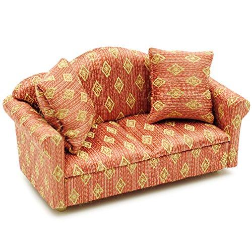 Unbekannt Miniatur Sofa / Couch mit 2 Kissen - für Puppenstube Maßstab 1:12 - rot weiß golden - gestreift - Puppenhaus / Puppenhausmöbel Sessel Wohnzimmer Klein - für W.. - Wohnzimmer-polstermöbel, Tisch