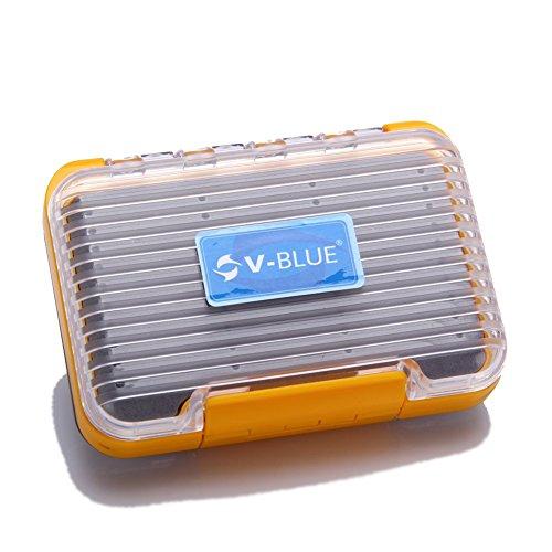 V-BLUE Angelbox wasserdicht Orange/Grey Fishing Box 106x75x32mm Fliegenbox Container Deppelseitig Angelkoffer Angelzubehör lure tacklebox