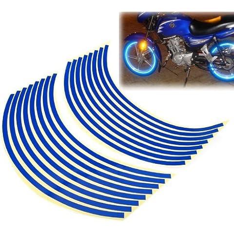 Ewin24 1 Paquete de la motocicleta del coche de la rueda de la bici reflectante Lamer raya cinta engomada 17