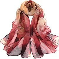 Joyfeel buy 1 Piece Lady Silk Scarf Elegant Lotus Pattern Long Soft Sunscreen Beach Breathable Ligntweight Shawl for Women