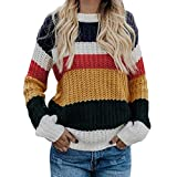 Luckycat Mujeres Floja Ocasional Suéter de Punto Pullover Mujer Otoño e Invierno Casual Raya Suéter de Punto Jersey