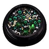 Nageldesign-Aufkleber, Strass-Steine, dunkelgrün, Nagelperlen, Glitzersteine