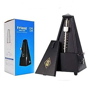 TAMUME Noire Antique Cru Pyramide Style Renforcé plastique Metronome 40-208 BPM Tempo Minuteur Musique Intégré Avec Bell et Mécanisme de Cuivre
