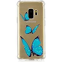 para Samsung Galaxy S9 Plus la Cubierta de la Caja del teléfono, HengJun Ultra Delgado TPU 3D en Forma de Tridimensional Relieve Escultura para Samsung Galaxy S9 Plus - Mariposa Azul