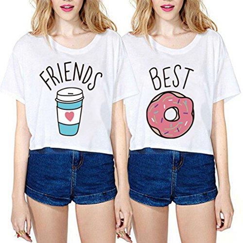 *Best Friends T-shirt Damen Aufdruck Sommer Tops mit Cartoon Kurz Mädchen Kurzarm 2 Stücke (Best-S+Friends-S)*