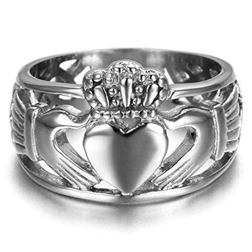 Gnzoe Uomo Acciaio inossidabile Anello, Trinity Anello Matrimonio Claddagh Anello,Argento, Dimensioni (Oro Celtica Claddagh Croce)
