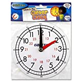 Clever Kidz Teaching Clock. Learn To Tell The Time. White. 15cm Diameter. Magnetic Back. Learn Hours and Minutes. 12 and 24 Hour Clock