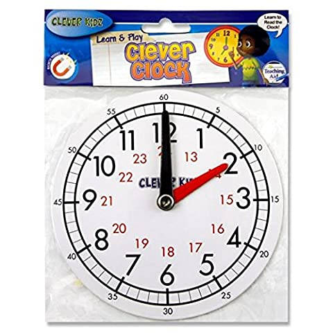 Clever Kidz Teaching Clock. Learn To Tell The Time. White. 15cm Diameter. Magnetic Back. Learn Hours and Minutes. 12 and 24 Hour