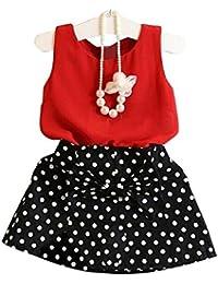 Malloom Conjunto de Falda de Chaleco para niñas, Vestido Plisado Conjunto de Dos Piezas de Ropa Conjunto de Falda para niños