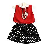 2PCS Bambini set Camicia + Vestito, feiXIANG Ragazze Veste Pieghe Vestito Set di due pezzi Abiti Bambini Gonna Suit , Chiffon , Nylon , Poliestere (rosso, 5-6 Anni)
