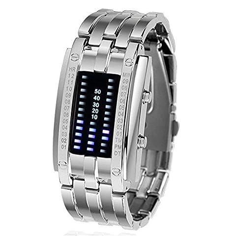 Padgene Luxuriös Damen Herren Schwarz Silber Edelstahl Datum Digital LED Armbanduhren Sport Uhr Watch (Silber für Damen)