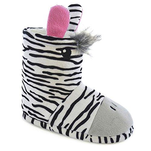 SlumberzzZ , Mädchen Hausschuhe Weiß mit Zebramuster
