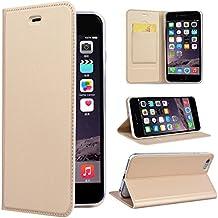 SMART LEGEND Funda iPhone 6 6S, iPhone 6 6S Funda Tipo Libro Piel PU Con Color Sólido, Ultrafina Piel Premiumcon Cierre Magnético, Case Cover Carcasa Plegable Protectora Funcional Fina y Elegante para iPhone 6 6S - Dorado