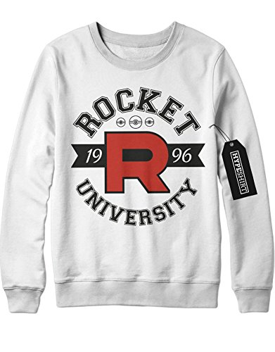 Sweatshirt Pokemon Go Team Rocket University Jessie James Mauzi Kanto 1996 Blue Version Pokeball Catch 'Em All Hype X Y Nintendo Blue Red Yellow Plus Hype Nerd Game C210007 Weiß (Von Rocket Jessie Team Kostüm)