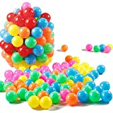 Tosnail 100 bunte Plastikbälle/ Bälle für Bällebad im Netz, 6 cm Durchmesser
