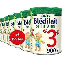 Blédina Blédilait Croissance 3ème âge - Lait en poudre dès 12 mois - type pack ( 6 boîtes de 900g)