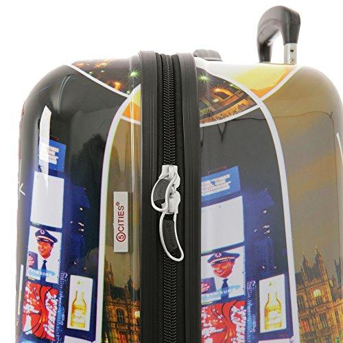 5 Cities Hartschale Polycarbonat 4 Rollen Handgepäck Trolley Koffer Bordgepäck Kabinentrolley Reisekoffer Gepäck , Genehmigt für Ryanair , easyJet , Lufthansa und Vieles Mehr (Nacht) - 6