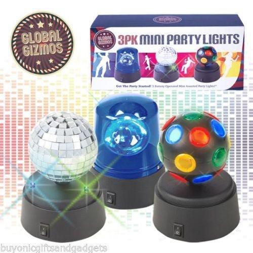Mini-Partylichter-Set, lustig, motorisiert, bunte Mini-Discokugeln, blaue LED-Polizeisirene und rotierende silberfarbene Spiegelkugel ASAB, 3...