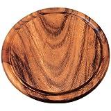 Kesper 20442 Fleischteller mit Saftrille, dunkles Akazienholz, Maße: ø 25 cm, Stärke: 1.5 cm