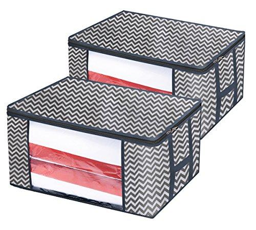 Homyfort set di 2 pieghevole organizzatore armadio - scatole armadio in tessuto - contenitore per armadi - sacchetto di vestiti bagagli - spazio borsa saver per la memorizzazione di abbigliamento, piumini, biancheria da letto, cuscini, coperte, maniglie resistenti, impermeabile, grigio / bianco zigzag, xbr60m