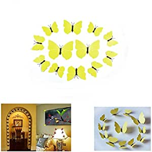 Wall Stickers - 12 Pcs 3D PVC Magnet Removable Wall Sticker Decal Decorative Stickers Wall Decoration For Living Room, Bedroom, TV Background, Refrigerator, Diwali Decoration, Home Decoration, Home Decor By KARP - Plain Yellow Color