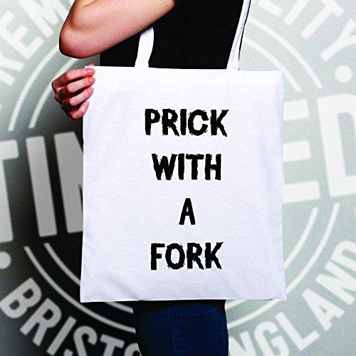 Pungere con uno slogan Forcella Posate cucchiaio da cucina Spork divertente Sacchetto Di Tote White