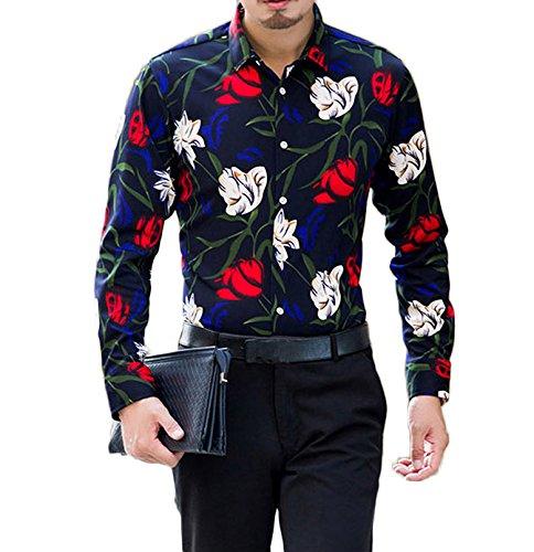 Herren Urlaub Strand Hawaii Blattaufdruck-Hemd Langärmelig Freizeit Shirt Farbe 4