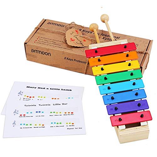 ammoon Xilófono Glockenspiel 8 Teclas Tamaño Compacto con Baquetas de Madera Percusión...
