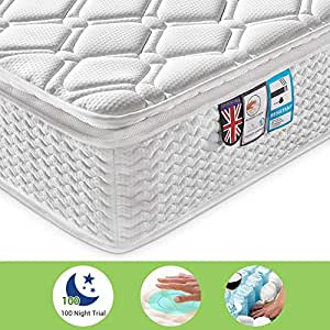 Ej. Life Pocket Sprung Mattress and Memory Foam Mattress Pressure Relief with 9-Zone Support System, Orthopaedic Mattress, 10.6-Inch, 2FT6 Small Single - 100 Nights Trial