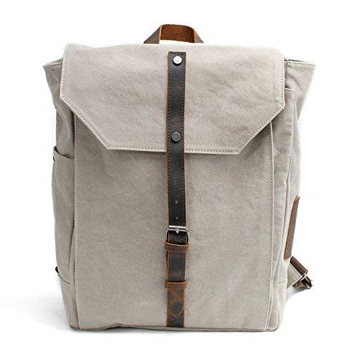 GHYIH Herrenrucksack Laptop-Rucksack Rucksack der Männer/der Frauen wasserdichter Retro Reißverschluss-Segeltuch 15,6 Zoll-Laptop-Studenten-im Freieneinkauf Lässiger Rucksack (Farbe : Weiß)