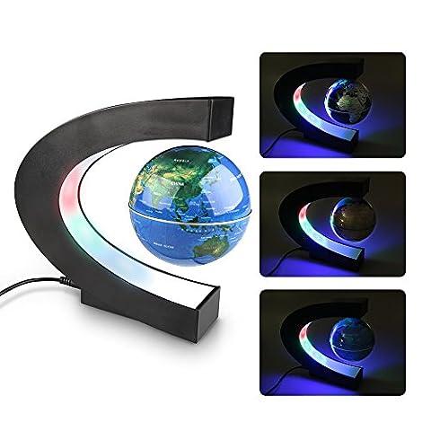 Créatif Globe, Easy Eagle Magnétique Lévitation Terrestre Lumineux Flottant Globe avec Lumières LED Éducation Décorations Bureau Cadeau 3'' Bleu