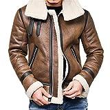 HET Mode Herren lose reißverschluss Kragen Lederjacke Herbst Winter Highneck Warme Pelz Liner Revers LeatherOutwear Top Coat (XXXXL, Braun)