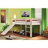 Cama alta de niños con tobogán pino macizo blanco - SHB/1032
