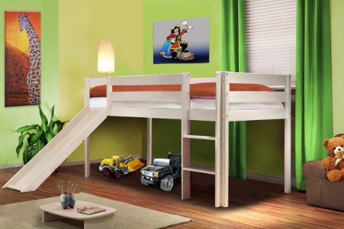 Sixbros. letto rialzato letto a soppalco per bambini con scivolo pino massiccio bianco - shb/1032