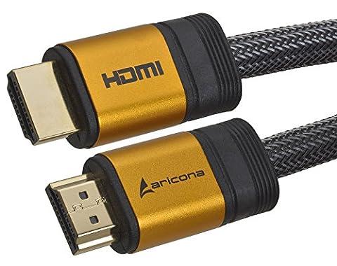 2 Meter High End & Highspeed HDMI Kabel 2.0/1.4a mit vergoldeten Steckern und einem Nylon/Alu Geflecht, blanken Kupferleitern (Unterstütz: Full-HD, 3D, Ultra-HD 4K, Ethernet, Audio Return) by aricona