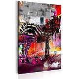 murando - Bilder 80x120 cm - Leinwandbild - 1 Teilig - Kunstdruck - Modern - Wandbilder XXL - Wanddekoration - Design - Wand Bild - Poster Abstrakt Tier Zebra Bunt - Wie Gemalt g-A-0113-b-b