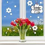 """Fensteraufkleber Frühling Blumen in der Farbe WEISS"""" von Wandtattoo-Loft® / WIEDERVERWENDBAR / 17 Aufkleber im Set / Fensterbilder Ostermotiv / Fensterdeko Set"""