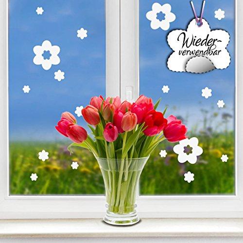 """Fensteraufkleber Frühling Blumen in der Farbe WEISS\"""" von Wandtattoo-Loft® / WIEDERVERWENDBAR / 17 Aufkleber im Set / Fensterbilder Ostermotiv / Fensterdeko Set"""