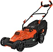 Black+Decker 1800W 42cm Lawn Mower with Bike Handle for Lawn & Garden, Orange/Black - BEMW481BH-GB, 2 Year