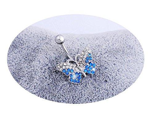 PRIMI Edelstahl Farbverlauf klar Gems Bead Schmetterling Nabel Ring Bauch Bar-Blau (Bauch Butterfly Ring)