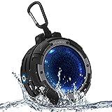 Bluetooth Lautsprecher Wasserdicht IPX8 mit 12 Studen Spielzeit, LED Mini Wireless Speaker für Fahrrad/Dusche/Reise