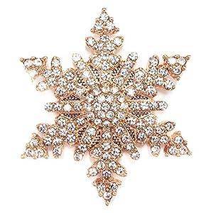 Magnet Brosche Schal Poncho Taschen Strass Steine Anstecker Schneeflocke Gold