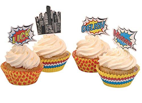Ginger Ray Pop-Art Superhelden-Partyboxen, gemischt, 5 Stück Cupcake, Aufsatz und Hüllen Standard mehrfarbig -