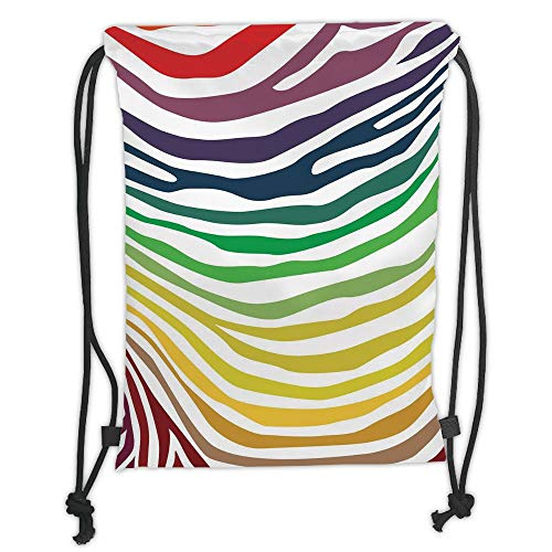 Drawstring Backpacks Bags,Zebra Print,Colorful Zebra Stripes Pattern in Cheering Rainbow Color Modern Style Art Decorative,Red Yellow Green Soft Satin,5 Liter Capacity,Adjustable S -