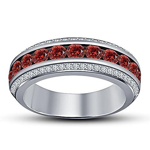 Vorra Fashion 925 Sterling Silver 1.25 ct Ladies Three Row Round Cut Red Garnet & White CZ Wedding Band Ring (N 1/2) - 5 Row Band Ring